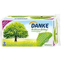 DANKE Toilettenpapier, sanftes Klopapier 3 lagig aus 100% Recycling Papier, 1 x Vorratspack mit 16 Rollen