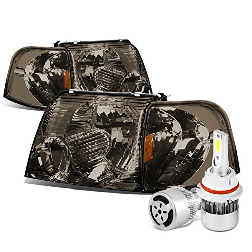For Ford Explorer U152 Smoked Lens Headlight + Amber Corner Signal Light + 9007 LED Conversion Kit W/Fan