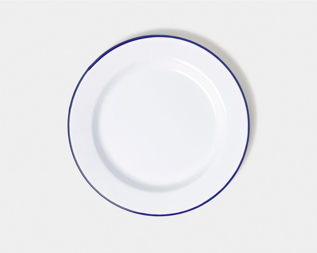 Genuine Falcon Enamelware Plate Set White with Blue Rim