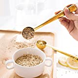 Coffee Scoop, Stainless Steel Golden Multi Function Coffee Measuring Spoon,Great Measuring Coffee, Tea,Protein Powder, Instant Drinks More - Perfect Coffee Spoon Bag Clip
