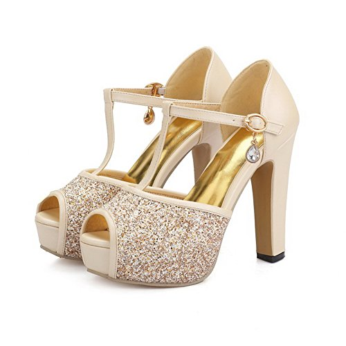AllhqFashion Womens Peep Toe High Heels Buckle Solid Sandals Apricot 7abqu