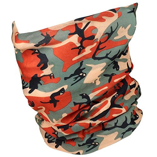 Fishing Mask Camo Headwear - Works as Fishing Sun Mask, Face Shield, Neck Gaiter, Headband, Bandana, Balaclava - Multifunctional Breathable Seamless Microfiber (Orange Camo)