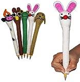 Set of 5 Woolen Pencil Grip for Children | 100% Wool Assorted Animal Figure Pencil Grip | Children Pencil Holder