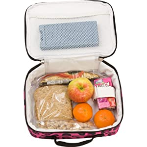 Lunch Box, Wildkin Lunch Box, Insulated, Moisture Resistant, and Easy to Clean with Helpful Extras for Quick and Simple Organization, Ages 3+, Perfect for Kids or On-The-Go Parents – Pink Leopard