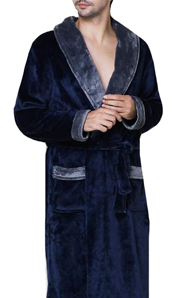 Comaba Mens Flannel Tie Waist Knee Length Sleepwear Plush Robe