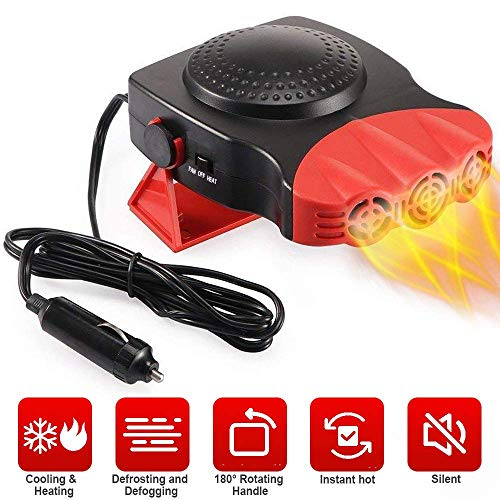 Portable Car Heater, Auto Electronic Heater Fan Fast Heating Defrost 12V 150W Car Heater, Plug Adjustable Thermostat in Cigarette Lighter, 2 in 1 Heating/Cooling Function 3-Outlet Car Heater (Renewed)