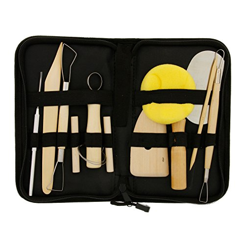 - US Art Supply 12-Piece Pottery and Clay and Sculpting Tools Set with Canvas Zippered Case