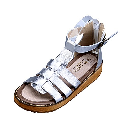 H&W Womens Flat Sandals Real Leather Gladiator Summer Sandals Gum Rubber Soles Black 1jPSi