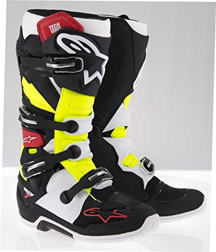Alpinestars Tech 7 Men's Black/Red/Yellow Motocross Boots - 9 (Size Boots Motocross 7)