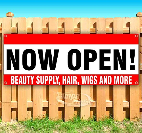 Now Open - Beauty Supply Hair Wigs and More 13 oz Heavy Duty Vinyl Banner Sign with Metal Grommets, New, Store, Advertising, Flag, (Many Sizes Available)