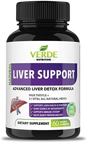 All Natural Herbal Liver Support Supplement, Cleanse and Detox | Liver Aid, Liver Health, Liver Detoxifier Regenerator | Advanced & Fast-Acting Milk Thistle Extract Ginger & Turmeric Formula