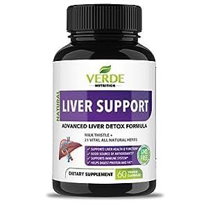 Advanced Natural Premium Liver Cleanse Detox & Repair Formula – 22 Herbs Support Supplement - Milk Thistle + Ginger + Turmeric + Yarrow + Dandelion + Jujube + Beet + Chicory – Verde Nutrition