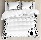 Soccer Bet Set 4pcs Bedding Sets Duvet Cover Flat Sheet No Comforter with Decorative Pillow Cases Queen Size for Kid Teens-Monochrome Football Frame Pattern Abstract Illustration Playing Sports Game
