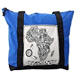 Lunarable Sketchy Shoulder Bag, Doodle Style Africa Map, Durable with Zipper