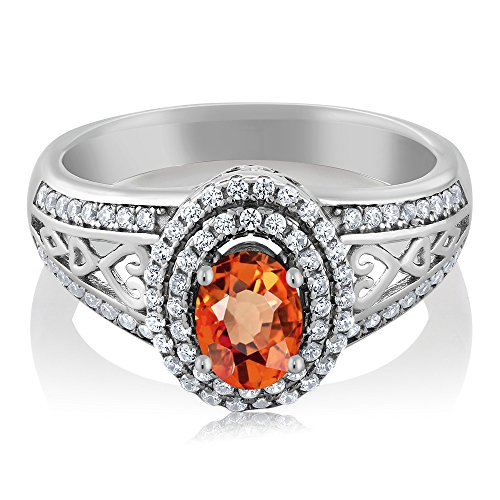 Gem Stone King Orange Sapphire 925 Sterling Silver Women's Ring 1.41 Center Stone: 6x4mm Oval (Size 6)