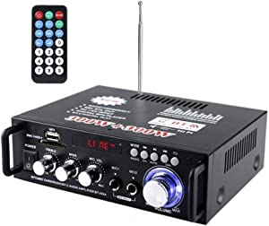 SaiDian 1 Pcs HiFi Audio Amplifier with Bluetooth Mini Home Stereo Audio Amplifier Dual Channel HiFi Power Amplifier Amp 300W+300W 2 Microphone Input