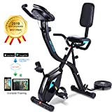 ANCHEER 3-in-1 Folding Exercise Bike,Indoor Stationary Cycle Bike with 10-Level Adjustable Magnetic Resistance & APP Program&Digital Monitor for Home Total Body Workout