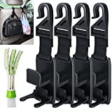 Car Headrest Hooks with Mini Duster for Car Air Vent, SENHAI 4 Packs Universal Back Seat Hangers Organizers, with 1 Automotive Air Conditioner Cleaner and Brush