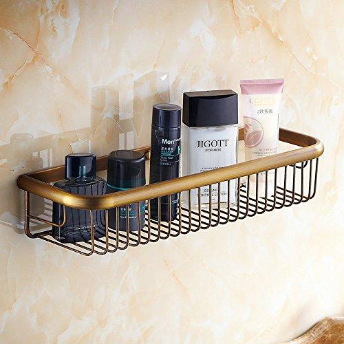 Beelee Wall Mounted 17.72 Inch Bathroom Shower Caddy Bath Rectangular Storage Basket Shelf, Antique Brass Finish