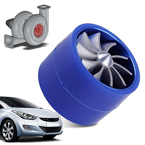 beler Blue Universal Auto Supercharger Turbonator Double Turbine Turbo Air Intake Fan Fuel Gas Saver:
