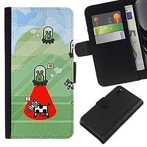 KLONGSHOP // Tirón de la caja Cartera de cuero con ranuras para tarjetas - Secuestro vaca Funny Cartoon Conspiración - Sony Xperia Z3 D6603 //