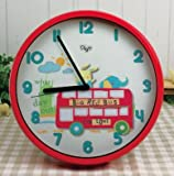12'' Children SILENT Wall Clocks for Kids Room - QUIET- Decorative - Battery Operated Children Clock- Best Bedroom Décor/Baby Shower Gifts Ideas for Boys/Girls/Nursery - (Red Bus)