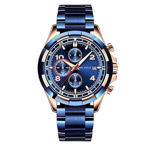 MINI FOCUS Men's Business Quartz Watches Stainless Steel Strap Chronograph Waterproof Luminous...