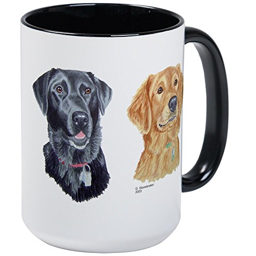 CafePress Black Lab & Golden Retriever Large Mug Coffee Mug, Large 15 oz. White Coffee Cup