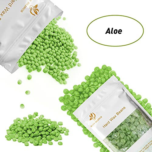 RioRand Hard Wax beans 400g Hair Removal Paper Free Rapid Body Depilatory Wax Beads with Wax Pot and 10pcs Wax Applicator Sticks (Aloe)