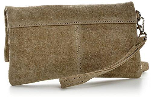 CNTMP - bolso para señora, clutches, clutch, bolsos de mano, bolsos, bolsos de fiesta, bolsos de tendencia, gamuza, ante, bolso de cuero (pequeños, taupe claro), 21x12x2,5cm (l x an x a)