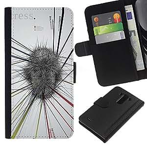 JackGot ( Resumen Mapa Mental Blanco Gris Estrés ) LG G3 la tarjeta de Crédito Slots PU Funda de cuero Monedero caso cubierta de piel
