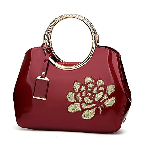 Bags Ladies Black Shoulder Handle Purse Stylish Leather Handbag Handbags Top Flower Tote Burgundy Bags Patent Womens with EP4dqP