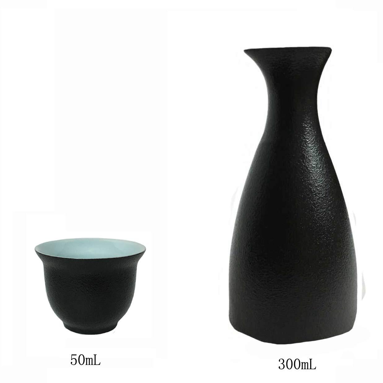 KCHAIN Ceramic Sake Set Handcraft Traditional Black Pottery with 1PC Sake Carafe and 6PCS Sake Cups Black/&Sky Blue