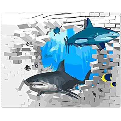 Version 3.0 HD Paint By Number Kits for Adults 3-dimension PBN Kit Paintworks Digital Diy Oil Painting Canvas Kits for Children Kids Beginner White Christmas Decorations Gifts - Shark (N13, No Frame): Toys & Games