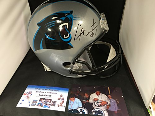 Cam Newton Signed Autographed Carolina Panthers Full Size Helmet With Rare CUSTOM NFL Decals Added GTSM Personal Player Hologram & COA W/Photo From Signing