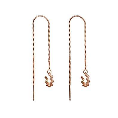 3471ce293 sanfnee 925 Sterling Silver Wave Cuff Earrings Wrap Long Tassel Earrings  for Women Girls Threader Earrings