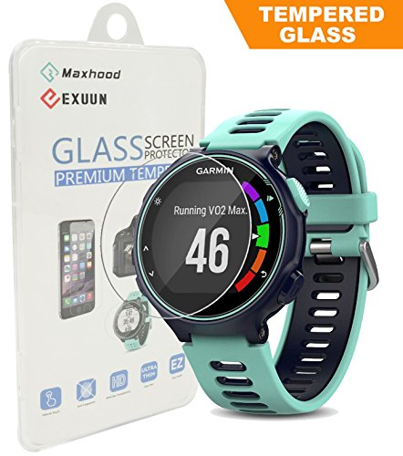 - Garmin Forerunner 735XT Tempered Glass Screen Protector, Poyiccot Premium 9H Hardness 0.3mm Ultra Thin 2.5D Watch Tempered Glass Screen Protector Glass Film for Garmin Forerunner 735XT