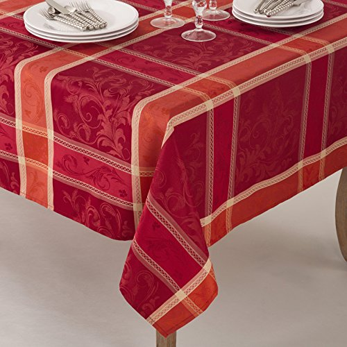 1 Piece 70x160 Red Oblong Plaid Tablecloth, Orange Cabin Lodge Theme Table Cloth, Floral Rugby Lumberjack Stripe Madras Pattern Flowers Square Checkered Design, Fall Thanksgiving Season, Polyester