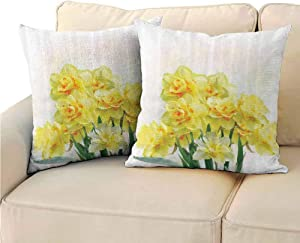 Daffodil Decor Decorative Square Throw Pillow Covers, Digital Watercolors Paint of Daffodils Bouquet Called Jonquils in England Lent Lily Room Decoration (2 PCS, 22x22 Inch) Yellow Green