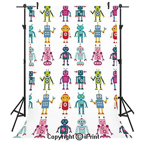 Nursery Photography Backdrops,Colorful Cartoon Set of Robot Figures Futuristic Funny Mascots Friendly Androids Decorative,Birthday Party Seamless Photo Studio Booth Background Banner 6x9ft,Multicolor ()