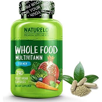 NATURELO Whole Food Multivitamin for Men - Natural Vitamins, Minerals, Antioxidants, Organic Extracts - Vegan / Vegetarian - Best for Energy, Brain, Heart, Eye Health - 240 Capsules