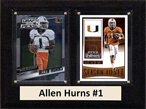 C&I Collectables NCAA Miami Hurricanes Men's Allen Hurns Two Card Plaque, Brown, 6
