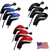 Golf Club Head Covers Woods Driver Fairway Hybrid 3 Set, Headcovers Men Women Long Neck 1 3 5 7 X with...