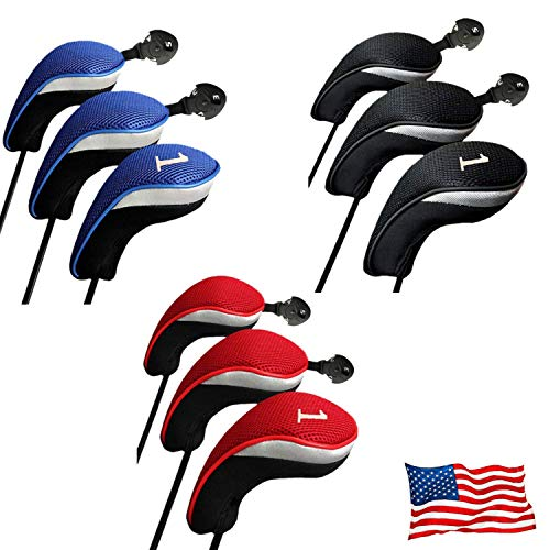 (Golf Club Head Covers Woods Driver Fairway Hybrid 3 Set, Headcovers Men Women Long Neck 1 3 5 7 X with Interchangeable Number Tag, Fit Nike Ping Mizuno Titleist 460CC (Blue, Driver&Fairway&Hybrid))