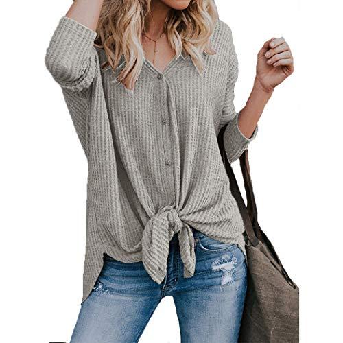 HANMAX Blouse V Femme Col Et Gris Button Chemise Automne Manches Longue Cardigan Printemps OO4rdqw