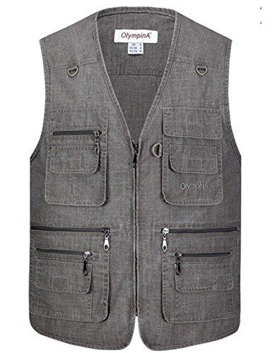 Flygo Men's Summer Casual Fishing Photography Vest Multiple Pockets Outdoor Waistcoat Jacket (X-Large, Dark Grey)