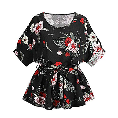 Floral Print Bow Shirt, 2019 QIQIU Women's Sexy Slim Fit Casual Short Sleeve Fashion Self Tie Blouse Tops T-Shirt Black