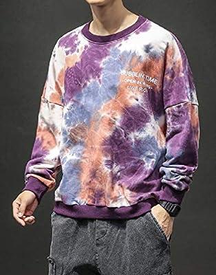 Doufine Men Tie Dye Pullover College Style Autumn Baggy Sweatshirts