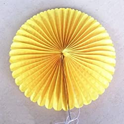 "Zorpia® 16""(40cm) Tissue Paper Fan Hanging Fan Tissue Paper Decorative Fan, Party Decorations for Weddings, Birthday Parties, Baby Showers and Nursery Decor Set of 6 (Yellow)"