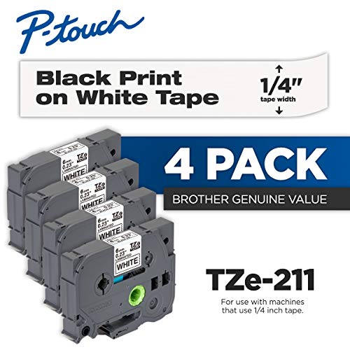 (Brother Genuine P-Touch 4-Pack TZe-211 Laminated Tape, Black Print on White Standard Adhesive Laminated Tape for P-Touch Label Makers, Each Roll is 0.23